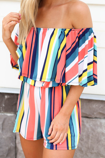 Multi - Model wearing Multi Color Striped Off the Shoulder Romper Detail View