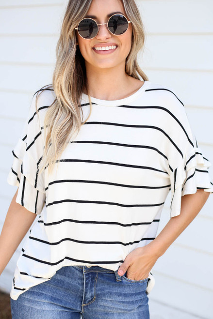 White - Striped Ruffle Sleeve Top Tucked In