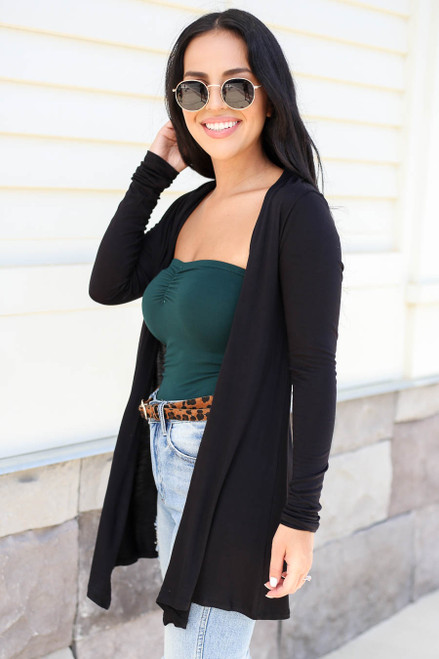 Black - Lightweight Long Sleeve Cardigan Side View