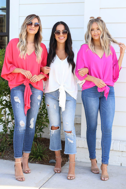 Coral - White, and Neon Tie-Front Chiffon Blouse