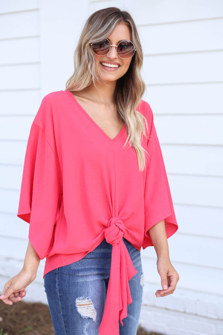Model wearing Coral Tie-Front Chiffon Blouse Side View