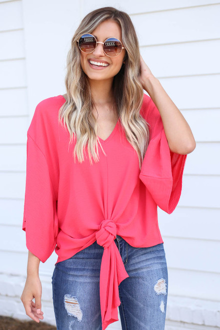 Model wearing Coral Tie-Front Chiffon Blouse Front View