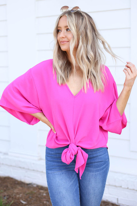 Neon Pink - Tie-Front Chiffon Blouse