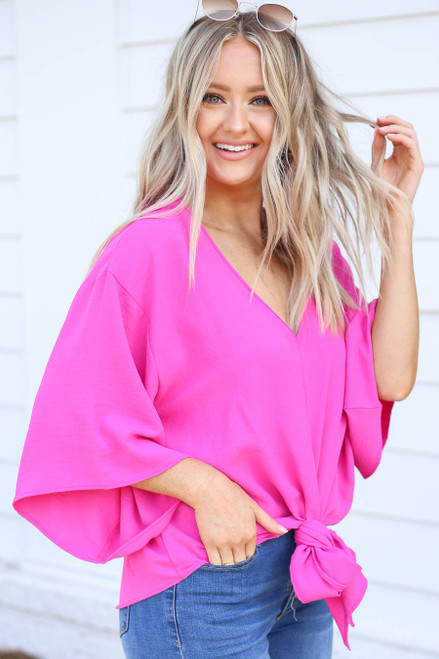 Neon Pink - Tie-Front Chiffon Blouse Side View