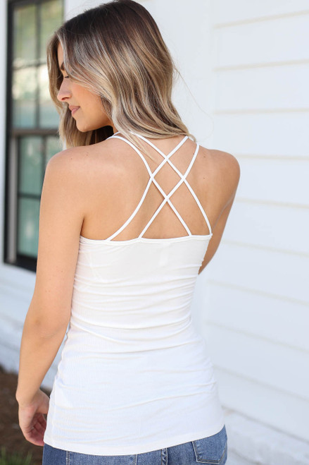 White - Ribbed Bodycon Criss-Cross Back Tank Top Back View