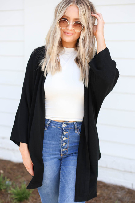 Black - Wide Sleeve Pocketed Cardigan