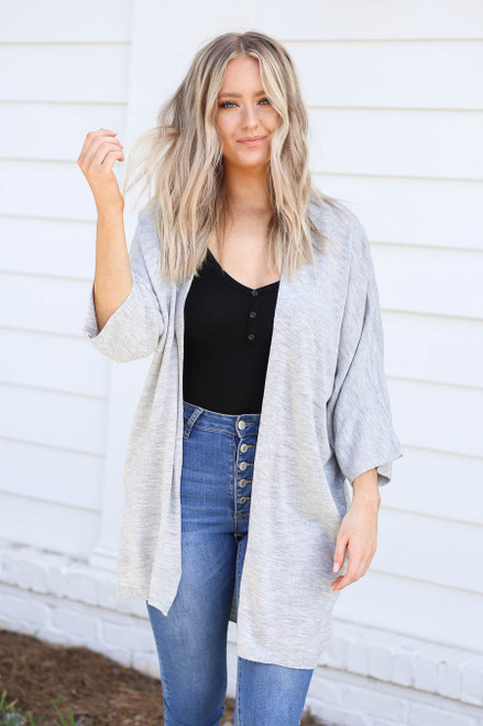 Grey - Wide Sleeve Pocketed Cardigan