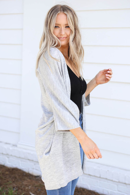 Grey - Wide Sleeve Pocketed Cardigan Side View