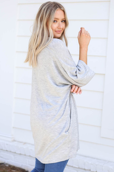 Model wearing Grey Wide Sleeve Pocketed Cardigan Back View