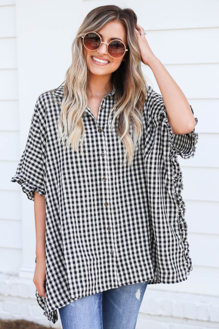 Black - and White Gingham Ruffled Oversized Button Up Top