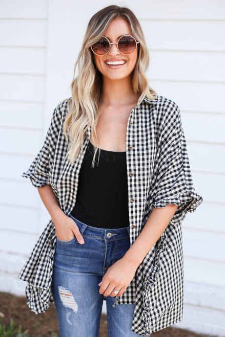 Black - and White Gingham Ruffled Oversized Button Up Top Open View