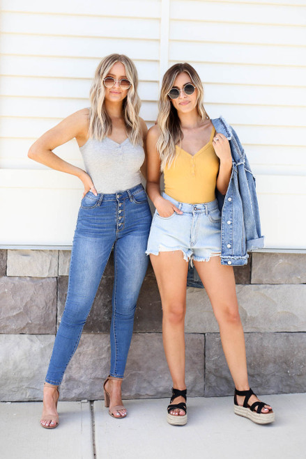 Heather Grey - and Mustard Ribbed Button Up Bodysuits