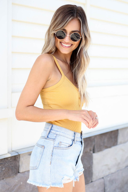 Mustard - Ribbed Button Up Bodysuit Side View