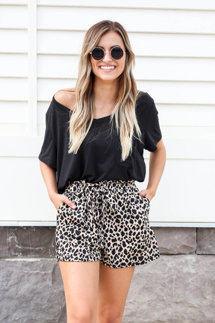 Leopard - Printed Paperbag Waist Shorts