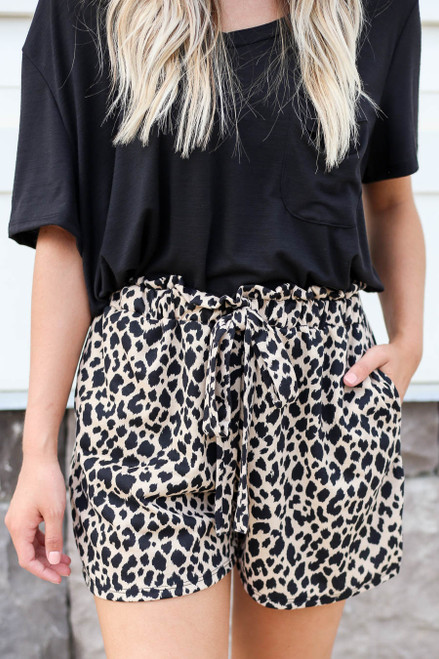 Leopard - Printed Paperbag Waist Shorts Detail View