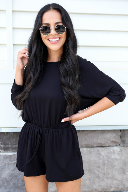 Model wearing Black 3/4 Sleeve Soft Knit Casual Romper Front View
