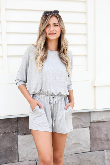 Model wearing Heather Grey 3/4 Sleeve Soft Knit Casual Romper Full View