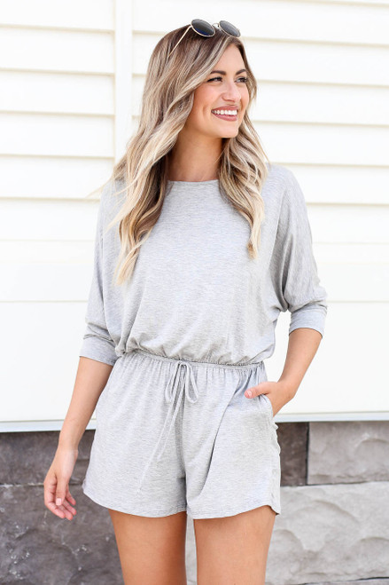 Heather Grey - 3/4 Sleeve Soft Knit Casual Romper