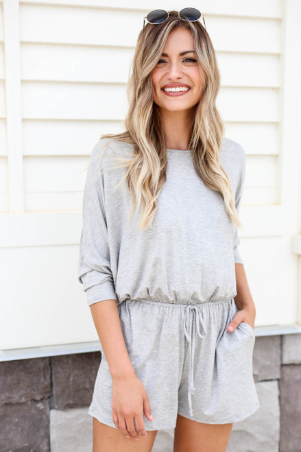 Model wearing Heather Grey 3/4 Sleeve Soft Knit Casual Romper Front View