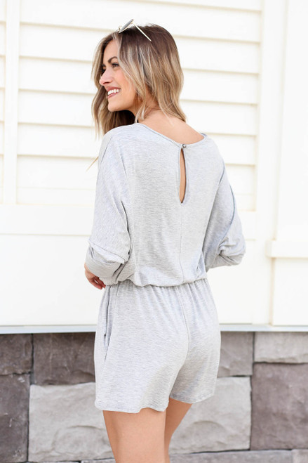 Model wearing Heather Grey 3/4 Sleeve Soft Knit Casual Romper Back View