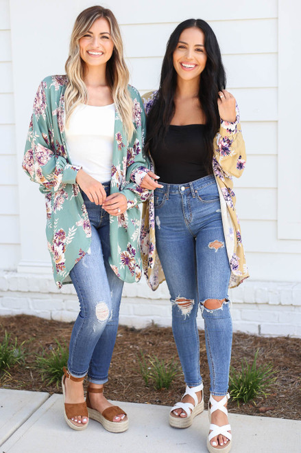 Mustard - and Teal Floral Lightweight Cardigan