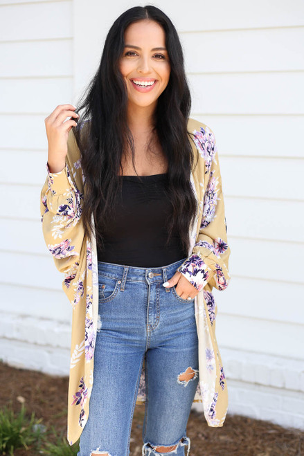 Model wearing Mustard Long Sleeve Floral Lightweight Cardigan Side View