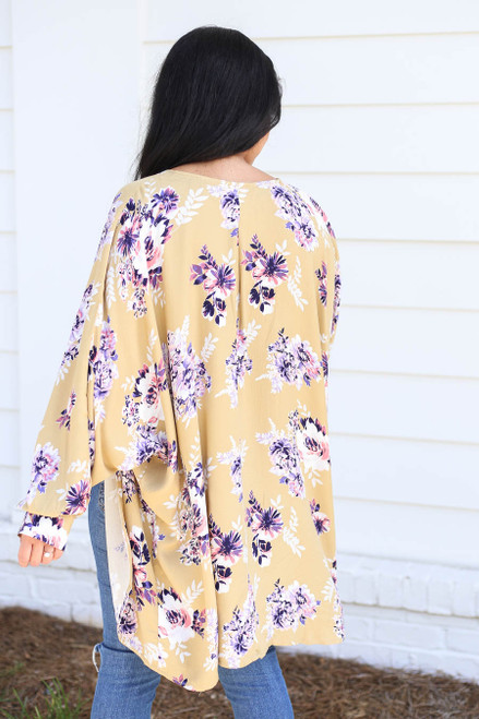 Model wearing Mustard Long Sleeve Floral Lightweight Cardigan Back View