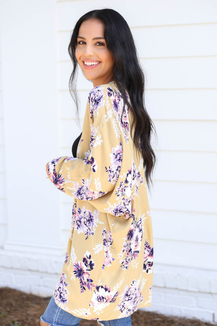 Mustard - Long Sleeve Floral Lightweight Cardigan