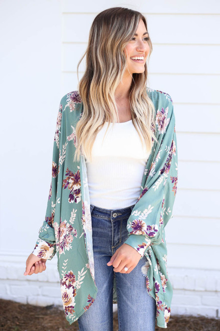Teal - Long Sleeve Floral Lightweight Cardigan