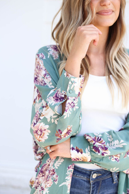 Teal - Long Sleeve Floral Lightweight Cardigan Detail View
