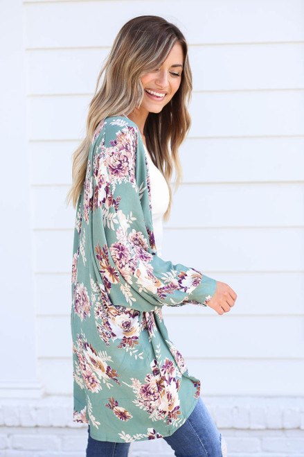 Model wearing Teal Long Sleeve Floral Lightweight Cardigan Side View