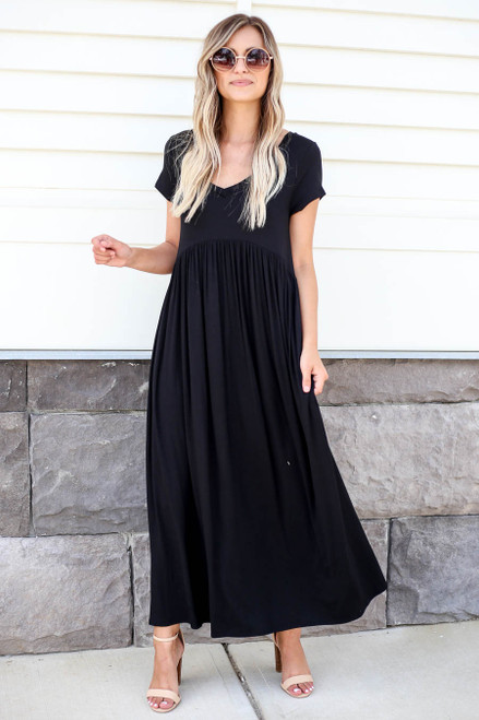 Black - Short Sleeve Babydoll Maxi Dress