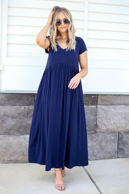 Model wearing Navy Short Sleeve Babydoll Maxi Dress Front View