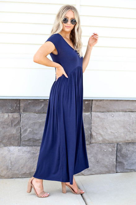 Navy - Short Sleeve Babydoll Maxi Dress Side View