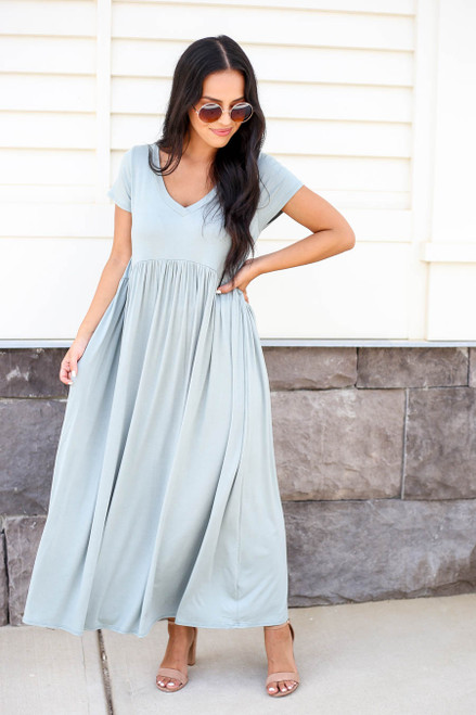 Model wearing Mint Short Sleeve Babydoll Maxi Dress Front View