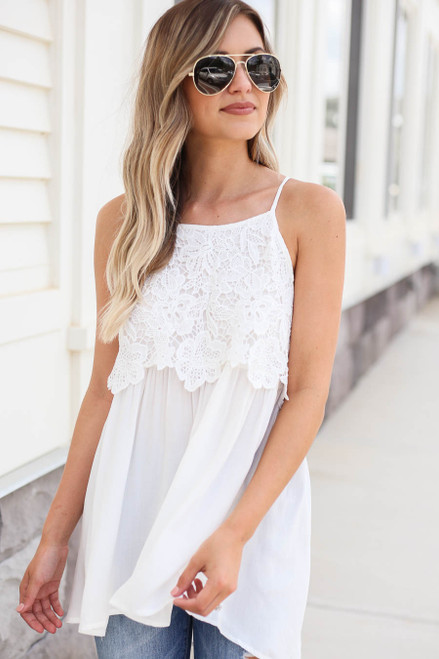 White - White Crochet Lace Tank Top