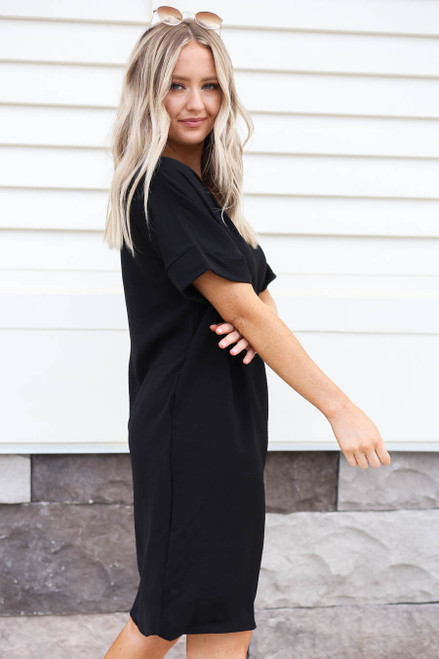 Black - Knee Length Shift Dress Side View