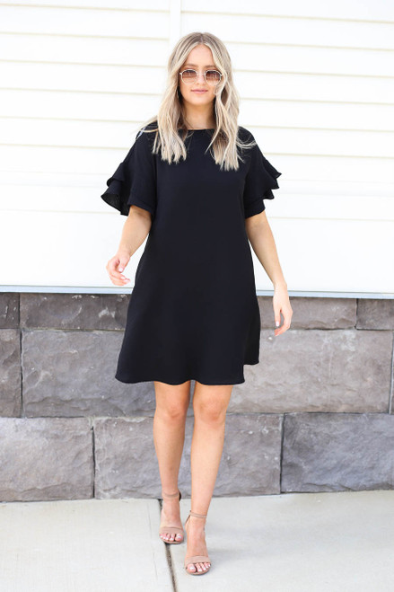 Black - Ruffle Sleeve Mini Dress Full View