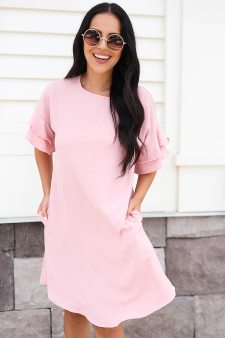 Mauve - Ruffle Sleeve Mini Dress