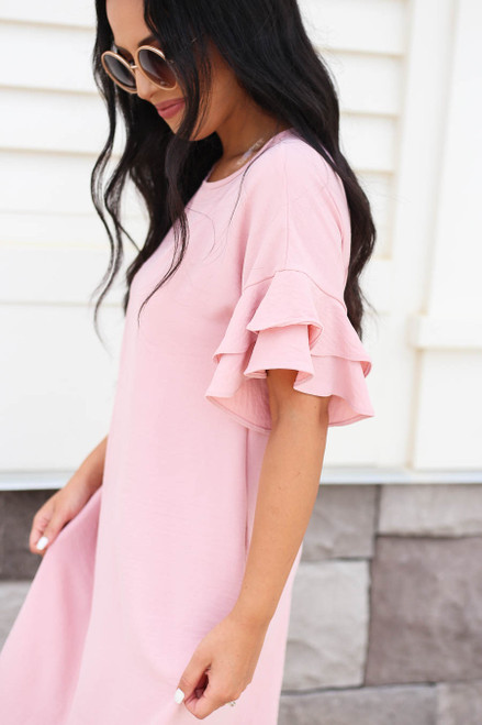 Mauve - Ruffle Sleeve Mini Dress Detail View