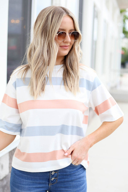 Peach - White and Light Blue Striped Cropped Tee Front View