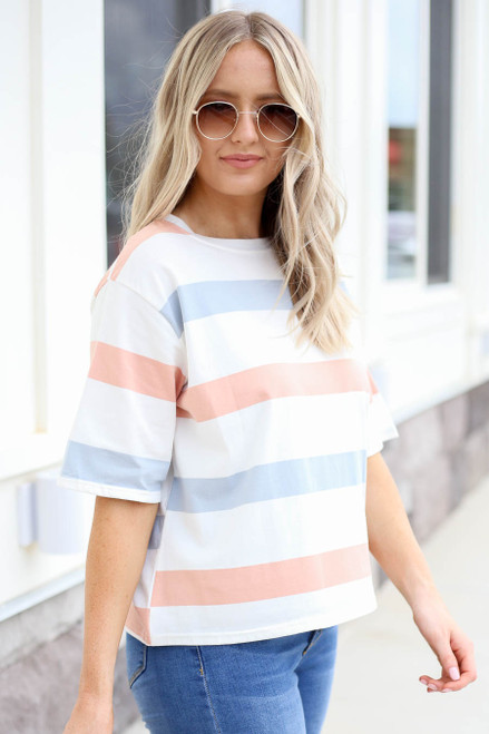 Peach - White and Light Blue Striped Cropped Tee Side View