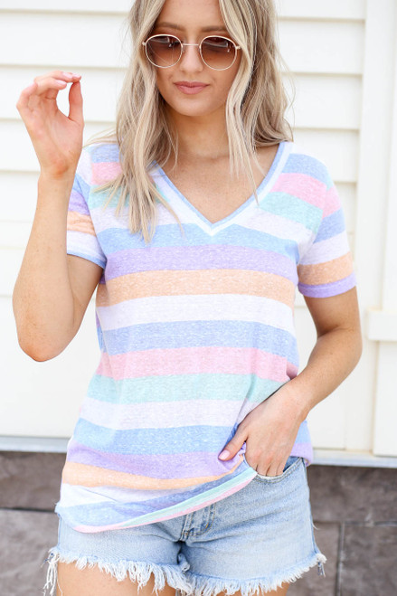 Model wearing Multi-Color Striped Short Sleeve V-Neck Tee Front View
