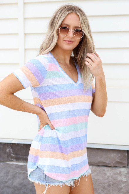 Model wearing Multi-Color Striped Short Sleeve V-Neck Tee Side View