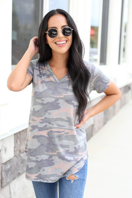Model wearing Camo Soft Knit Tee Front View
