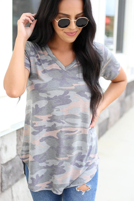 Camo - Soft Knit Tee Detail View