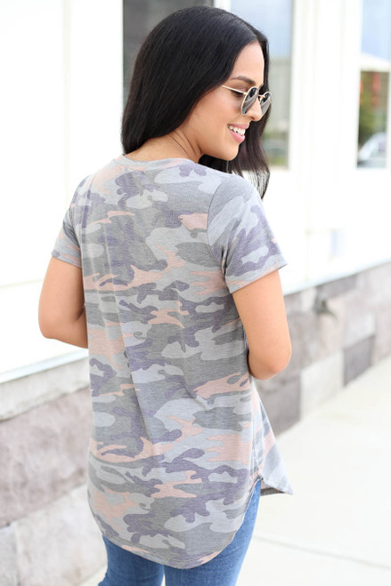 Model wearing Camo Soft Knit Tee Back View