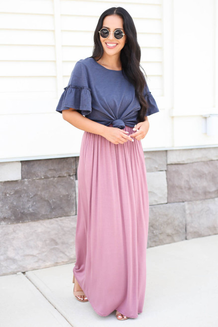 Mauve - Sleeveless Empire Waist Maxi with T-Shirt