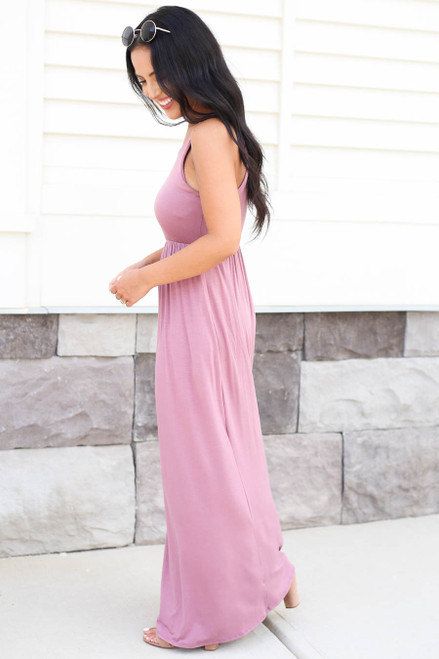Model wearing Mauve Sleeveless Empire Waist Maxi Side View