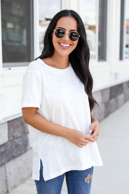 White - Short Sleeve Contrast Tee